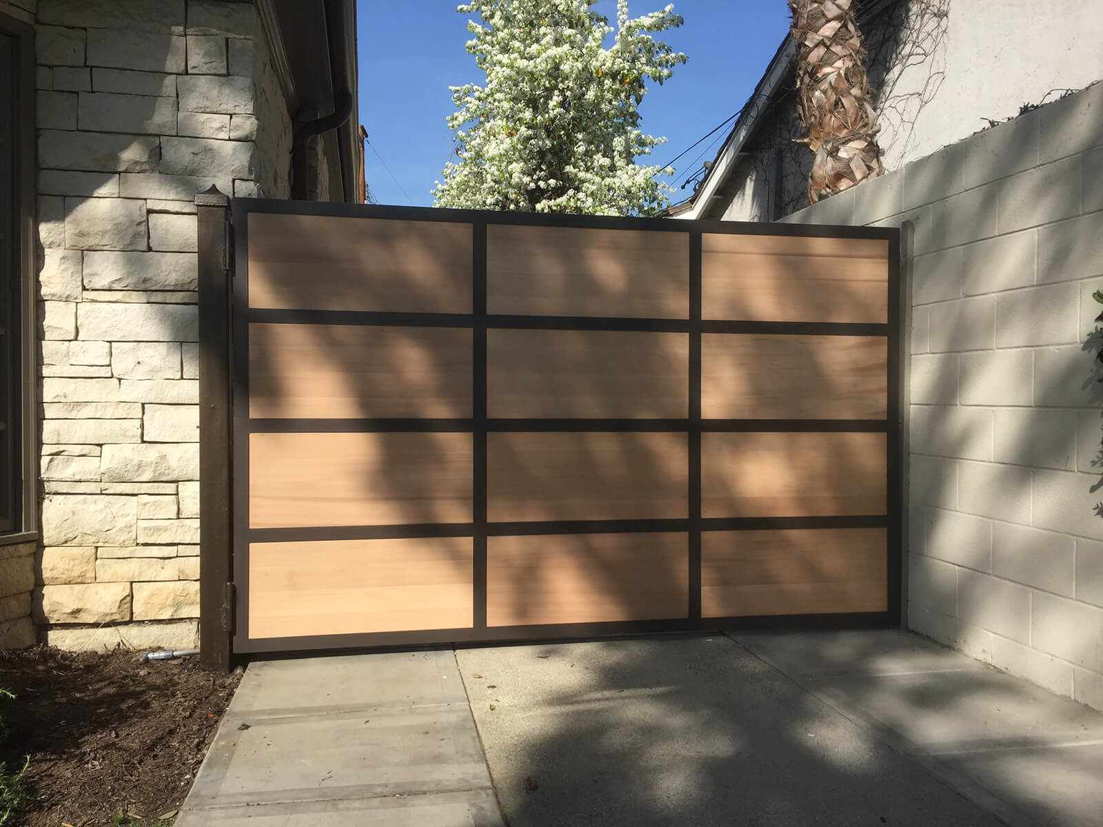 Contemporary wood swing gate