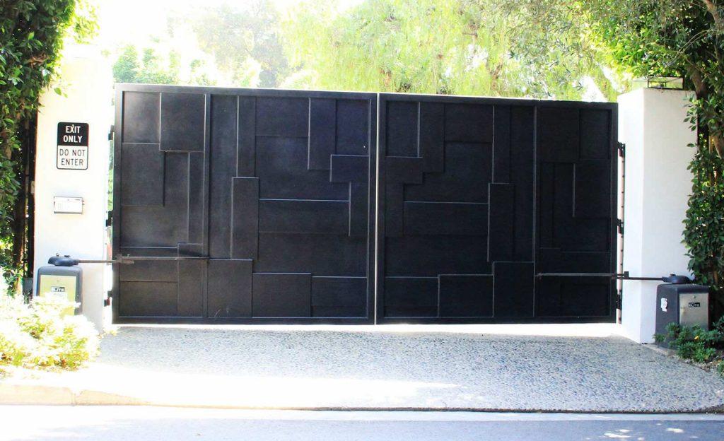 Black layered steel bifold gate
