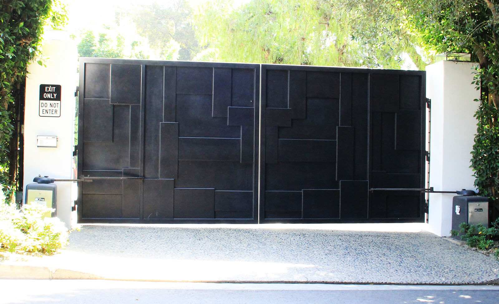 Black layered steel bifold gate