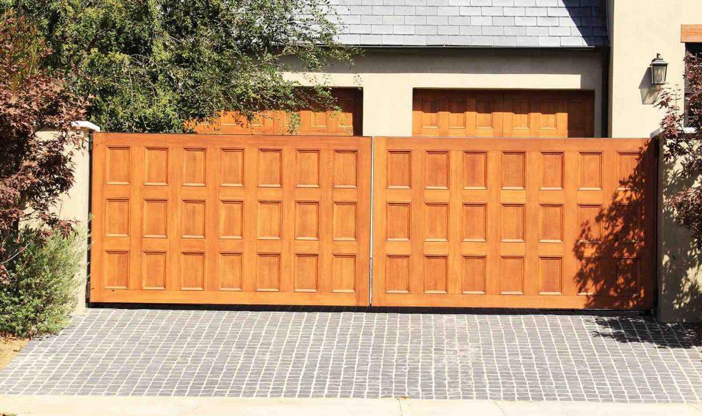 Custom finished wood dual slide gates