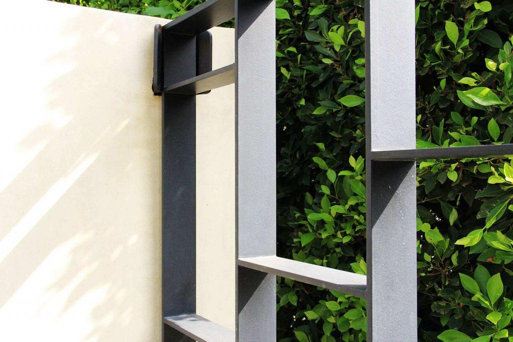 Close up of custom steel gate