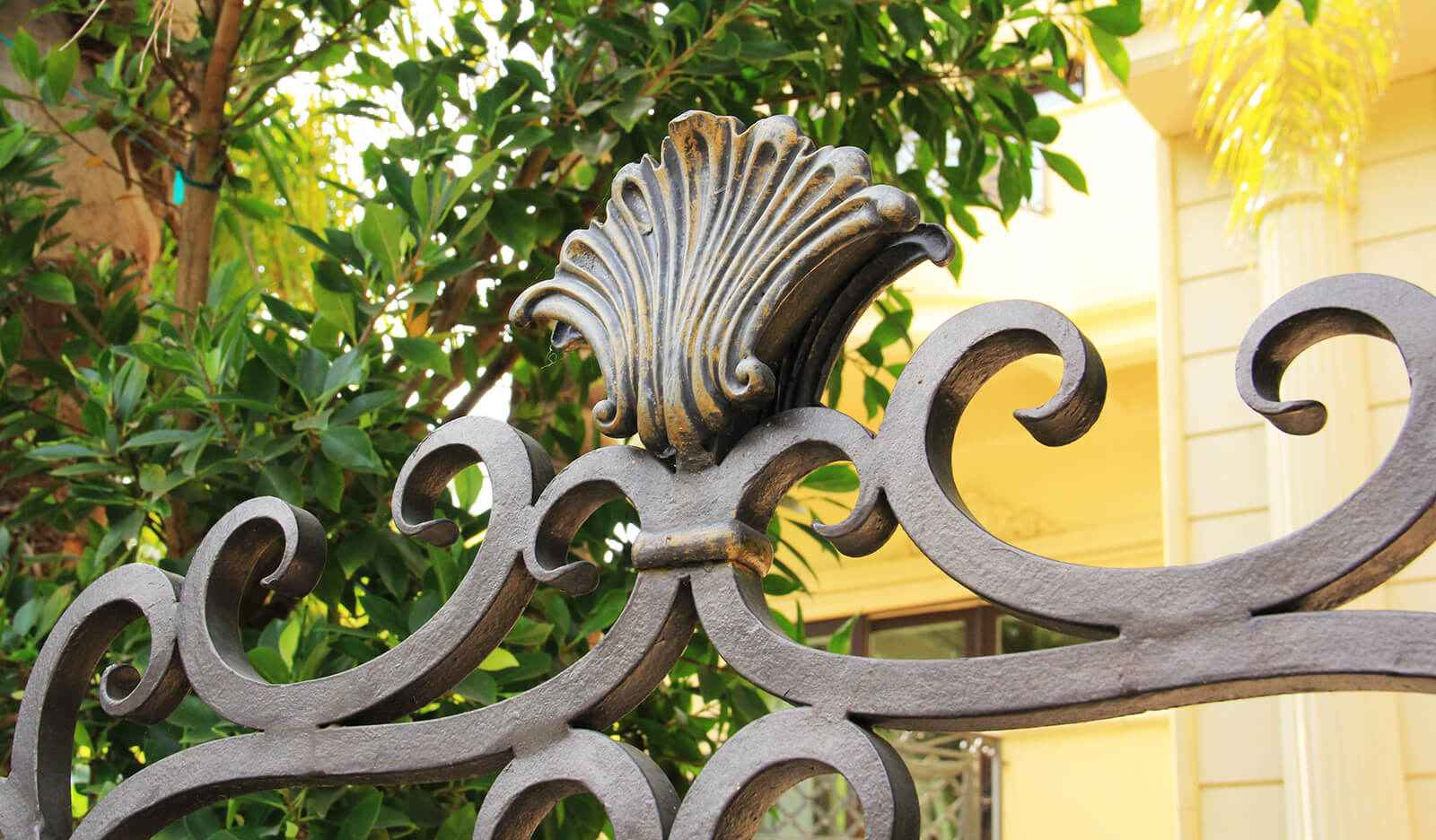 Close up of custom finished wrought iron gate